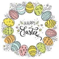 guirnalda de huevos de pascua feliz dibujada a mano vector