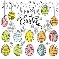 Hand Drawn Happy Easter Eggs Colourful Composition vector