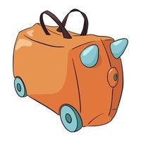maleta infantil naranja y azul dibujada a mano vector