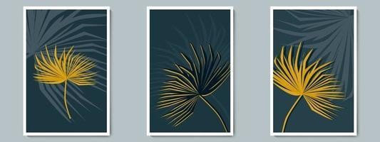 Botanical Dark Wall Art Vector Poster Set. Minimalist Shadow and Gold Tropical Foliage with Night Background.