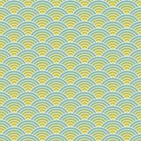 Fish scale seamless pattern background. Overlapping repeating circles make waves background. Abstract design element. Blue and yellow vector illustration.