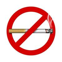 3D no smoking sign with cigarette, vector illustration