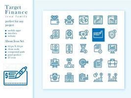 Financial icon pack outline financial vector