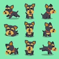 personaje de dibujos animados yorkshire terrier poses de perro