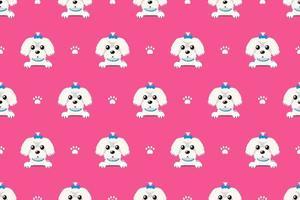 vector, caricatura, carácter, perro maltés, seamless, patrón