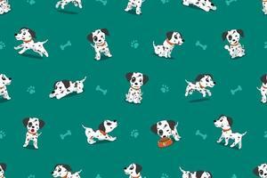 vector, caricatura, carácter, perro dálmata, seamless, patrón
