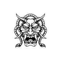 ilustración de dibujado a mano de tatuaje de máscara de diablo vector