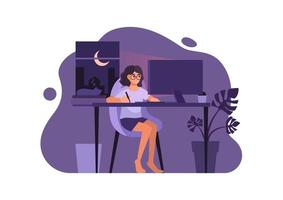 Woman in casual dress working on computer at night in her residence, vector illustration