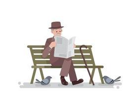 Old man in vintage suit sitting on bench reading newspaper, vector illustration
