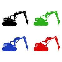 Excavator Icon On White Background vector