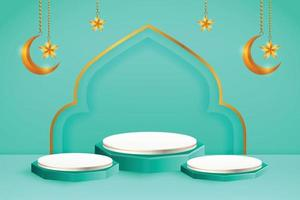 3d product display blue and white podium themed islamic with crescent moon and star for ramadan vector