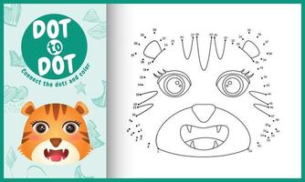 Connect the dots kids game and coloring page with a cute face tiger character illustration vector