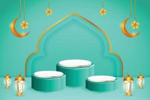 Exhibición de productos 3d con temática islámica azul y blanca del podio con la luna creciente, la linterna y la estrella para el ramadán vector