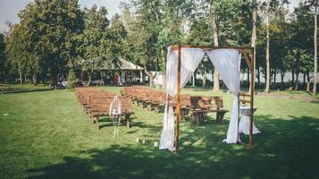 Outdoor wedding with gazebo photo
