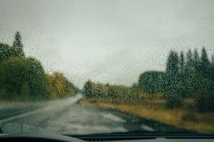 Raindrops on windshield photo