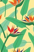 Seamless Pattern Wallpaper of Bird of Paradise Flowers and Leaves for Tropical Plant Background. vector