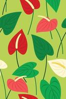 Seamless Pattern Wallpaper of Flamingo Flowers and Leaves for Tropical Plant Background. vector