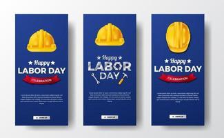 Banner de historias de redes sociales para el día del trabajo con trabajador de casco de seguridad 3d con fondo azul vector