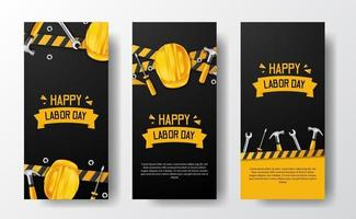 Social media stories banner for labor day with 3d safety helmet worker, hammer, wrench, with yellow line and black background vector
