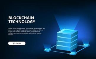 3d cube network cloud crypto technology for future blockchain cyber internet connection illustration with dark background vector