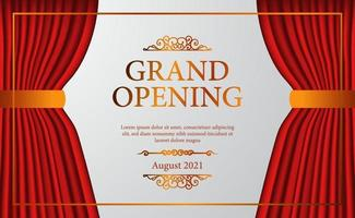 open red curtain stage theater vintage luxury elegant grand opening with golden confetti poster banner template vector