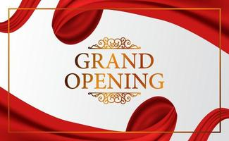 Grand Opening luxury vintage expensive with classic 3d ribbon silk cloth curtain for ceremony elegant with white background and golden color poster banner template