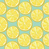 Lemon slices seamless background. Summer festive pattern. Vector