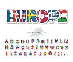 European countries flag cartoon font. Creative alphabet for concept design. Vector illustration