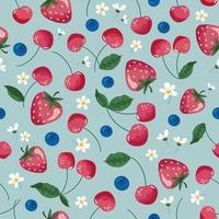 Fruits seamless pattern. Strawberry, cherry, and blossom. Romantic vintage background. Vector