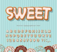Sweet cookie font. Cartoon hand drawn alphabet. Glazed colorful letters and numbers. Vector