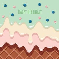 Fondo de helado que fluye derretido. tarjeta de cumpleaños. vector