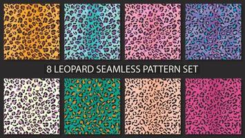 Leopard skin seamless pattern set. Jaguar, cheetah fur background collection. Animal stylish print vector