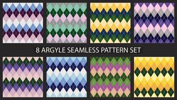 Argyle seamless pattern set. Textile colorful backgrounds. Vector
