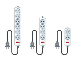 electric extension cord for household appliances. a set of different extender lengths. flat vector illustration isolated on white background.