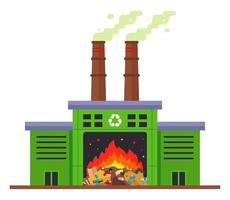 waste incineration plant and emission of harmful substances into the atmosphere. flat vector illustration isolated on white background.