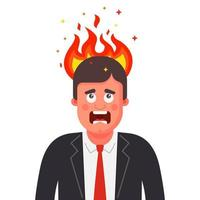 the man head is on fire. mental disorder in humans. flat vector illustration isolated on white background.