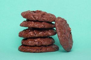 Glazed oatmeal cookies closeup on a blue background photo