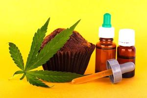 Brownie cake and green leaf marijuana with THC extract on a yellow background photo