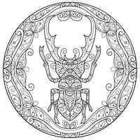 Beetle on white background. Hand drawn sketch for adult colouring book vector