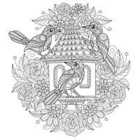Birds house on white background. Hand drawn sketch for adult colouring book vector