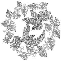 Birds lover on white background. Hand drawn sketch for adult colouring book vector