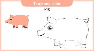 Trace and Color Pig vector
