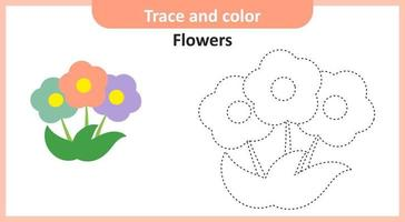 Trace and Color Flowers vector