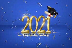 Class of 2021 graduation banner with golden number, confetti, diploma and cap graduation. vector