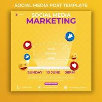 editable social media post template. 3D marketing banner ads with icon social media and realistic smartphone. vector
