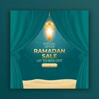 Ramadan sale ads banner with curtain and lantern. editable social media post template for promotion. vector