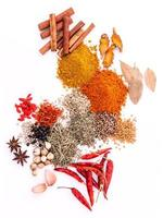 Assorted of spices isolated on white background
