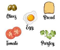 un conjunto de ingredientes compuesto por huevos revueltos, tostadas, tomates, aceitunas y perejil vector