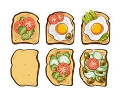conjunto de diferentes tostadas con tomates, pepinos, aceitunas, huevos revueltos, perejil, espárragos, pimiento y salsa vector