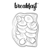 outline of the toast with cucumbers, olives and sauce vector